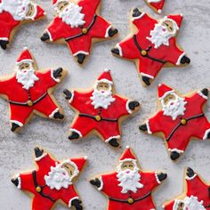 Santa Star Cookies Recipe -Cookie baking can't get any more fun than when you are making—and decorating—these adorable Santa cookies. They are also really good to eat.Taste of Home Test Kitchen Santa Cookies, Christmas Sugar Cookies, Holiday Cookies, Christmas Goodies, Christmas Desserts, Christmas Treats, Christmas Star, Cut Out Cookies, Christmas Cooking