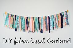 Girl's Room DIY Fabric Tassel Garland - perfect for the nursery, kids room or even as party decor!DIY Fabric Tassel Garland - perfect for the nursery, kids room or even as party decor! Rag Garland, Ribbon Garland, Fabric Garland, Diy Ribbon, Garlands, Fabric Banners, Diy Tassel Garland, Fabric Strip Curtains, Ribbon Chandelier