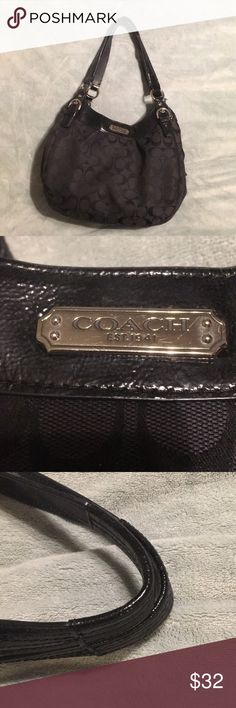 Black Coach purse Used. Color is fading a couple places. Pretty deep purple lining. Coach Bags Shoulder Bags