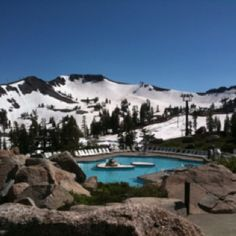 Squaw Valley, CA Swimming with snow all around you is awesome!
