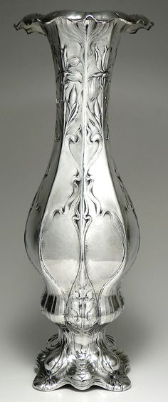 """Large Gorham Martelé vase, c1899. Gorham's Martelé line was entirely hand wrought and created of """"better than sterling"""" .950 purity silver, primarily in the art nouveau style."""
