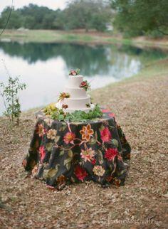 Simple and beautiful autumn wedding cake. Reception - Rancho La Zaca.
