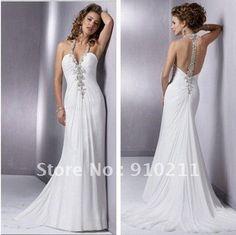 Fashionable Cute New Style Informal Halter Chiffon Chapel Train Wedding Gowns 125$