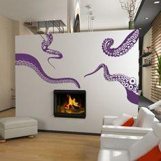 SALE Large Kraken/Octopus Tentacles Vinyl Wall by Pillboxdesigns, via Etsy.