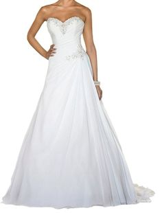 New Simple Crystal Beaded Chiffon White/Ivory A Line Wedding Dress Bridal Gown