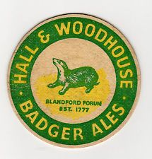 Hall & Woodhouse Badger Ales ~ vintage beer mat Beer Mats, Beer Bottles, Boathouse, Badger, Drink Coasters, Ephemera, Graphics, Christmas, Inspiration