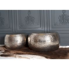Hammered Drum Set of Two Pouffes/Planters | Stools & Ottomans | Sofas & Seating | Sweetpea & Willow £195