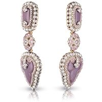 Fabergé Scheherazade Earrings  This piece is set in 18 carat gold and silver and features 378 white and pink diamonds and white pearls totalling 5.77 carats.
