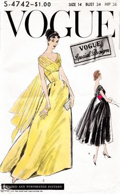1950s 50s Vogue S-4742 ball gown evening dress in two lengths Vintage Sewing Pattern Bust 34  repro