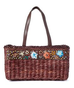 41741af83d Boardwalk Style Brown Seashell-Accent Corn Husk Straw Tote