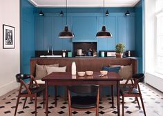 12 proofs that American cuisine is always dreaming - Dining Room Kitchen Floor Plans, Kitchen Flooring, Kitchen Tiles, Küchen Design, House Design, Interior Design, Sweet Home, Kitchen Colors, Home Decor Inspiration