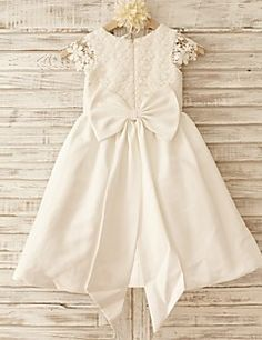 A-line+Knee-length+Flower+Girl+Dress+-+Cotton+/+Lace+Short+Sleeve+Scoop+with+–+USD+$+79.99