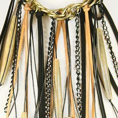 DIY Leather fringe necklace.