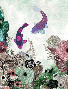 Fish art, Living Room Art, Drawing Print, Fine Art Print, Modern Art, Feng Shui Art on Etsy, $17.00