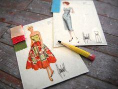 Miniature Fashion Sketches (set of 3). $4.50, via Etsy.