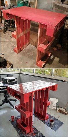 On the next on our list we will talk about the uniquely designed wood pallet table concept that is all set with the concept of the stylish flavors. It is basically a style of the table piece that you can beautify with the red hues of the wood paint work as well as for the purpose of beautification.