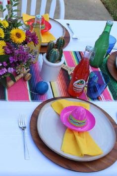 Feast your eyes on this colorful Cinco de Mayo party! The table settings are fantastic! See more party ideas and share yours at CatchMyParty.com Fiesta Cake, Fiesta Party, Centerpieces, Table Decorations, For Your Party, Garland, Bridal Shower, Favors, Place Cards