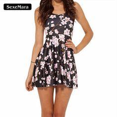 >> Click to Buy << SexeMara 2017 Hot Sale Pink Plum Print Beautiful Skater Dess Vestidos Vintage Style Pleated Mini Dress Women Party Dresses X-348 #Affiliate