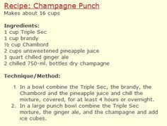 Champagne Punch from the old Culinary School of the Rockies