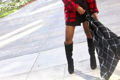 Plaid Shirts + Mini SkirtsHow to wear plaid for fall . How to style plaid Plaid Shirts, Flannel Shirt, Plaid Fashion, Autumn Fashion, How To Wear Loafers, How To Wear Flannels, Winter Leather Jackets, Winter Outfits For Work, Casual Jeans