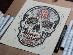 Burning Sugar Skull - Block Print