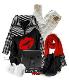 """""""A Kiss of Red"""" by karen-of-abog ❤ liked on Polyvore featuring True Religion, Wool and the Gang, Alexander McQueen, Topshop, Kyi Kyi, women's clothing, women, female, woman and misses"""