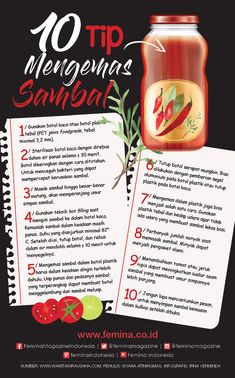 10 Tip Mengemas Sambal, Inspirasi Usaha! Food To Go, Food N, Food And Drink, Sauce Recipes, Cooking Recipes, Sambal Recipe, Jar Packaging, Indonesian Food, Baking Tips