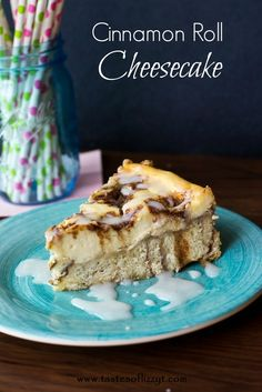 Cinnamon Roll Cheesecake {Tastes of Lizzy T} Cinnamon Rolls on the bottom...cinnamon swirled cheesecake on top! Shorten this recipe by using store-bought cinnamon rolls!