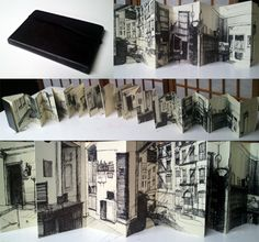 interesting sketchbook idea, the drawing of different images all link together by joining up lines. Concertina Book, Accordion Book, Artist Journal, Artist Sketchbook, Moleskine Sketchbook, Drawing Journal, Fashion Sketchbook, Sketchbook Inspiration, Sketchbook Ideas