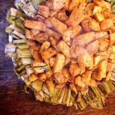 Braised leeks and roasted sweet potatoes #vegan #salad #organic