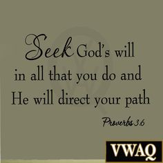 Seek God's Will in All That You Do Proverbs 3:6 Bible Wall Decal Scripture Quote