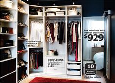 Ikea closet. This is actually what my closet looks like. Minus the last little section.
