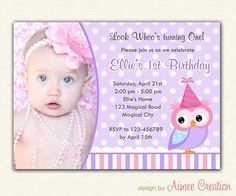 Owl Birthday Invitations with Photo (DIY PRINTABLE Party) for girls - Purple / Lavender Polka Dot on Etsy, $14.00