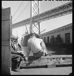 San Francisco Images: Bay Bridge series; Longshoreman at lunch