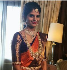 Gold Jewelry for any purpose Wedding Saree Blouse Designs, Pattu Saree Blouse Designs, Half Saree Designs, Blouse Designs Silk, Simple Blouse Designs, Stylish Blouse Design, Indian Bridal Fashion, Blouse Models, Elegant Saree