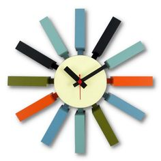 Find it at the Foundary - George Nelson Block Clock - Multi-Color