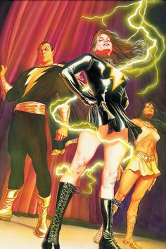 Mary Marvel, Black Adam & Isis by Alex Ross Captain Marvel Shazam, Ms Marvel, Comic Book Artists, Comic Book Heroes, Comic Artist, Comic Books Art, Alex Ross, Superman, Batman