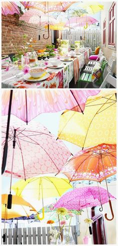 Floating Umbrella decor is the ultimate party decor. It looks beautiful and provides shade!