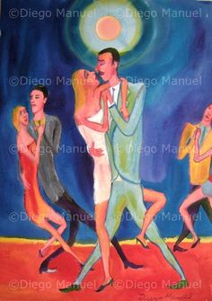 """Enamorados 2"", acrylic on canvas, 43 x 60 cm. 2008. By Diego Manuel"