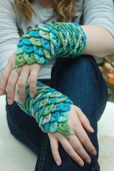 Crocodile Stitch Wrist Gauntlets in Surf color by RavensRascals