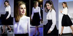 Biała bluzka i czarna spódnica – brzmi banalnie, szkolnie, nudnie? Nic z tych rzeczy! Zobaczcie jak klasykę gatunku nosi hiszpańska królowa!
