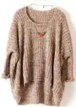 Light Brown Batwing Long Sleeve Loose Sweater 0.00