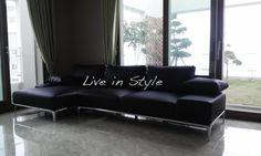 L-Shape Leather Black Sofa - Max9005