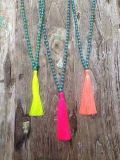 Best+Selling+Boho+Chic+Tassel+Necklace+%7E+Summer+Neon+Colors+%7E+Mala+Calming+Necklace+%7E+Aqua+%7E+Turquoise+Howlite+Stone+Beads+%7E+Bohemian+Boho