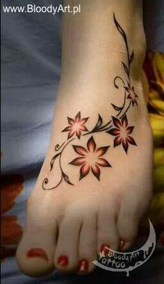 Flower foot tattoo