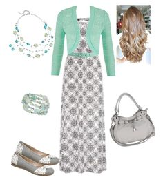 """""""Mint & Grey Maxi Outfit"""" by modesty-forhisglory ❤ liked on Polyvore featuring Mode, maurices und Vince Camuto"""