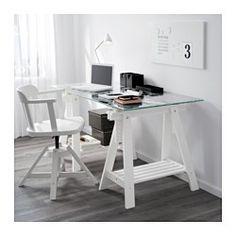 IKEA - GLASHOLM / FINNVARD, Mesa, , Al ser de vidrio templado, el tablero no se mancha y es fácil de limpiar.En la balda que hay debajo del caballete puedes poner la impresora, libros o documentos. Así, tendrás más espacio de trabajo en el tablero.