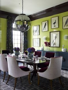 Aubergine & Chartreuse Corbusier-themed Dining Room