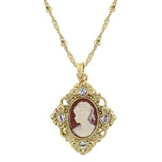 Downton Abbey Gold Tone Cameo Crystal Accent Pendant Necklace