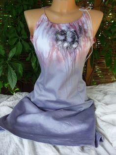 Elastické šaty s malbou růží. Ručně malované a batikované elastické dámské  šaty Vlastní střih e80c465978